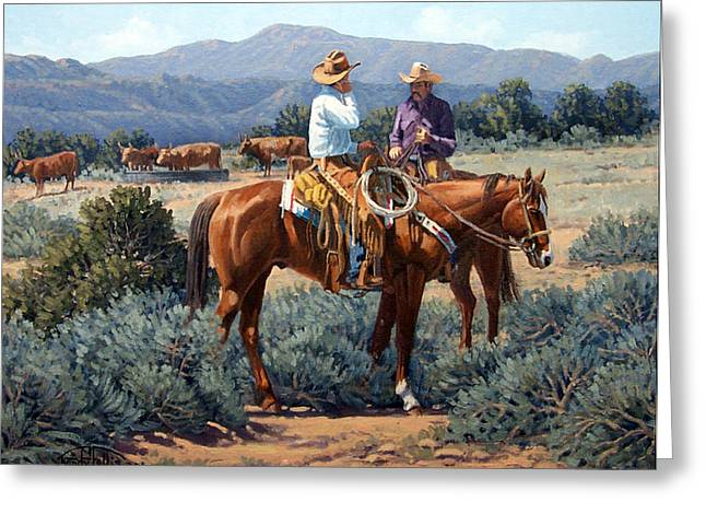 Two Cowboys Greeting Card by Randy Follis