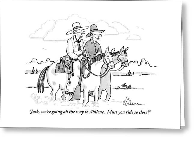 Two Cowboys Ride Horses Side-by-side Greeting Card