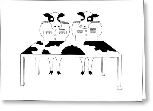 Two Cows In Military Dress Looking At A Map Table Greeting Card