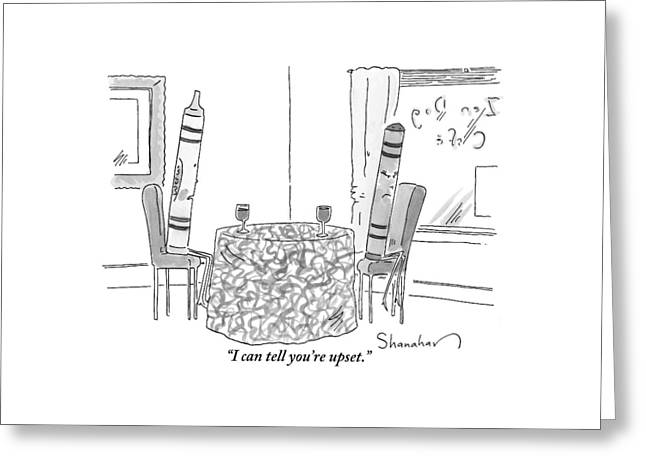 Two Crayons Sit Across From Each Other At A Round Greeting Card by Danny Shanahan