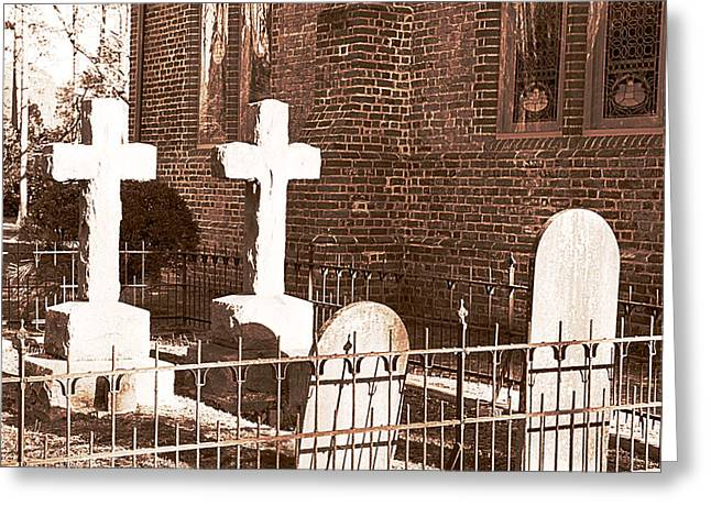 Two Crosses In Saint Lukes  Greeting Card by Artist and Photographer Laura Wrede