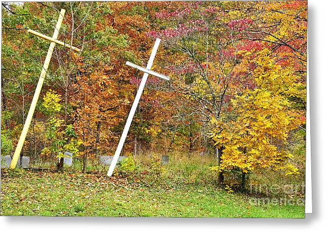 Two Crosses Greeting Card by Thomas R Fletcher