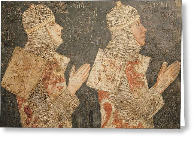 Two Crusaders Of The Minutolo Family, From The Cappella Minutolo Fresco Greeting Card