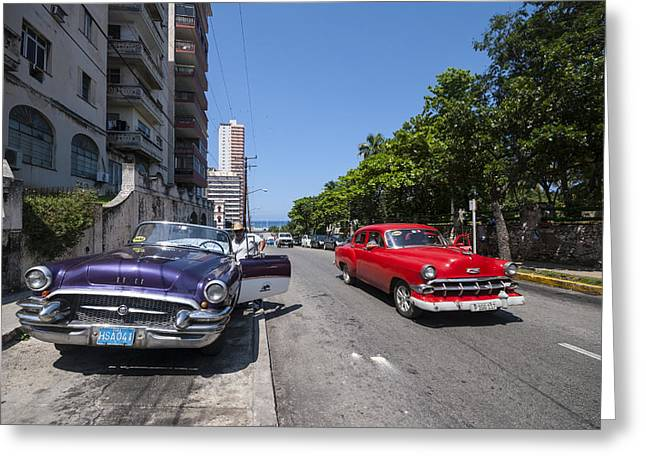 Two Cuban Taxis Greeting Card