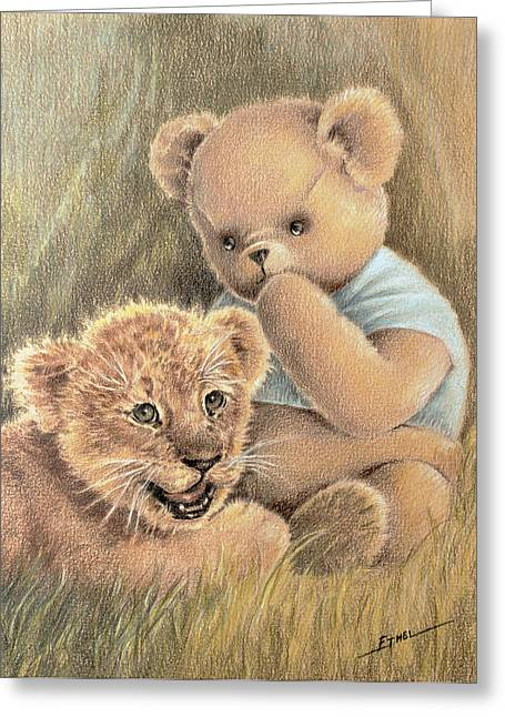 Greeting Card featuring the drawing Two Cubs by Ethel Quelland