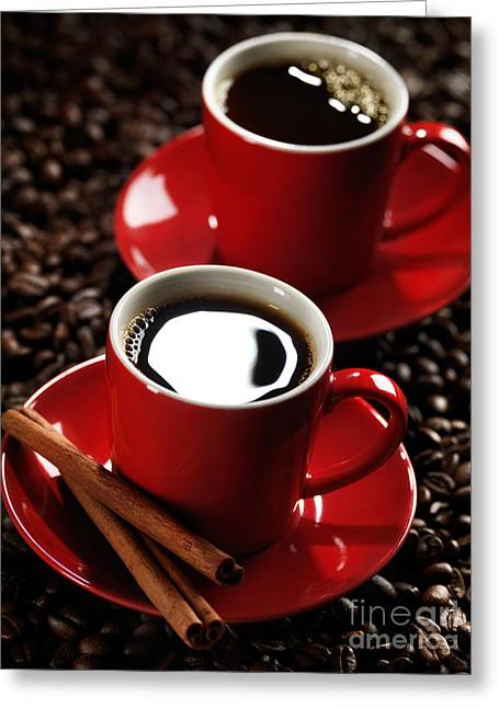 Two Cups Of Coffe On Coffee Beans Greeting Card by Oleksiy Maksymenko