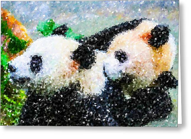 Greeting Card featuring the digital art Two Cute Panda by Lanjee Chee
