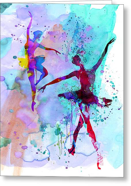 Two Dancing Ballerinas Watercolor 2 Greeting Card by Naxart Studio