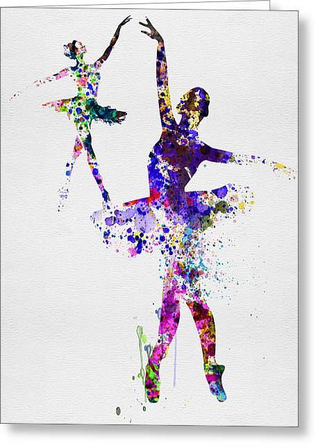 Two Dancing Ballerinas Watercolor 4 Greeting Card by Naxart Studio