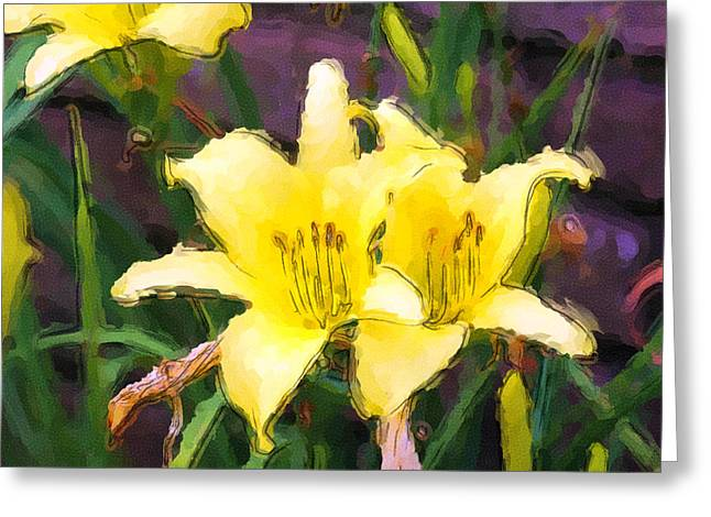 Two Day Lillies In Flower Garden Greeting Card by George Ferrell