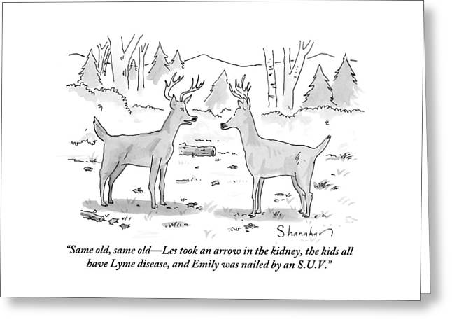 Two Deer In A Forest Are Seen In Conversation Greeting Card