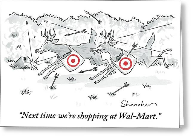 Two Deer With Red Target Shopping Bags Dodge Greeting Card