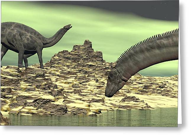 Two Dicraeosaurus Dinosaurs In A Desert Greeting Card