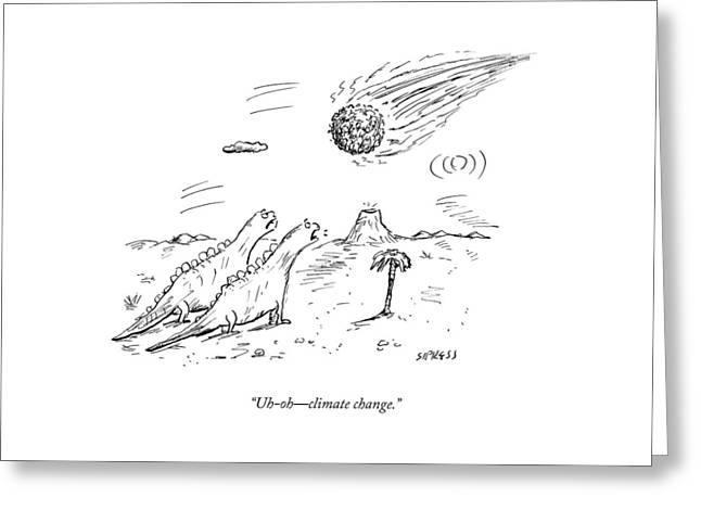 Two Dinosaurs Look At A Fast-approaching Meteor Greeting Card
