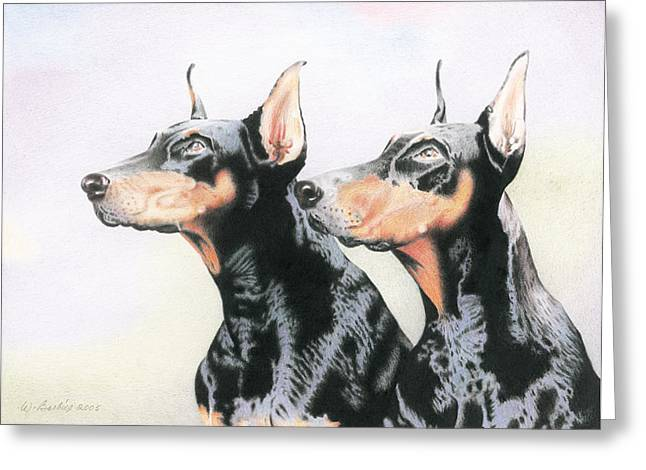 Two Doberman Greeting Card by Wilfrid Barbier