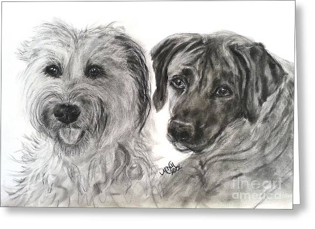 Two Dog Night Greeting Card by Michelle Wolff