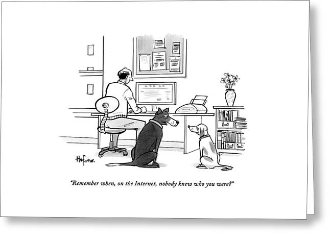 Two Dogs Speak As Their Owner Uses The Computer - Greeting Card by Kaamran Hafeez