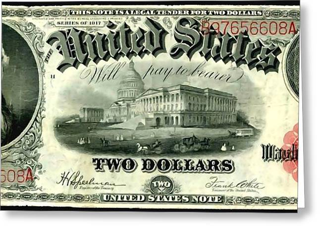 Two Dollar 1917 United States Note Fr60 Greeting Card by Lanjee Chee