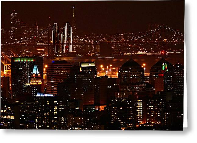 Two Downtowns Greeting Card by Michael Courtney