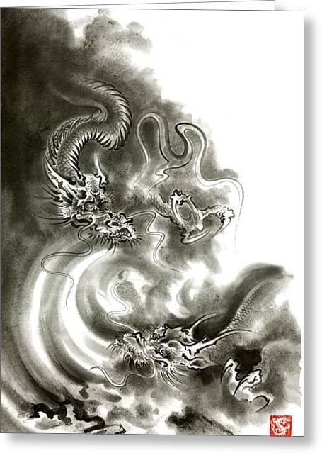 Two Dragons Gold Fantasy Dragon Design Sumi-e Ink Painting Dragon Art Greeting Card by Mariusz Szmerdt