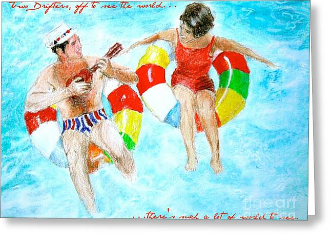Two Drifters Off To See The World Greeting Card by Beth Saffer