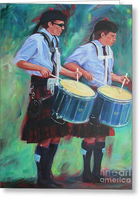 Two Drummers Greeting Card