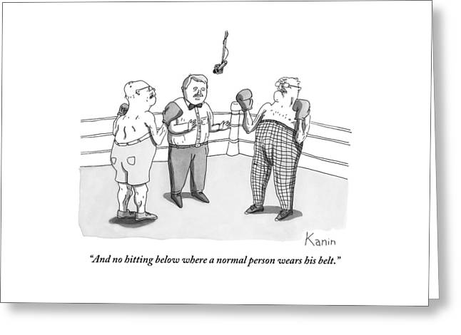 Two Elderly Men Meet In A Boxing Ring Greeting Card