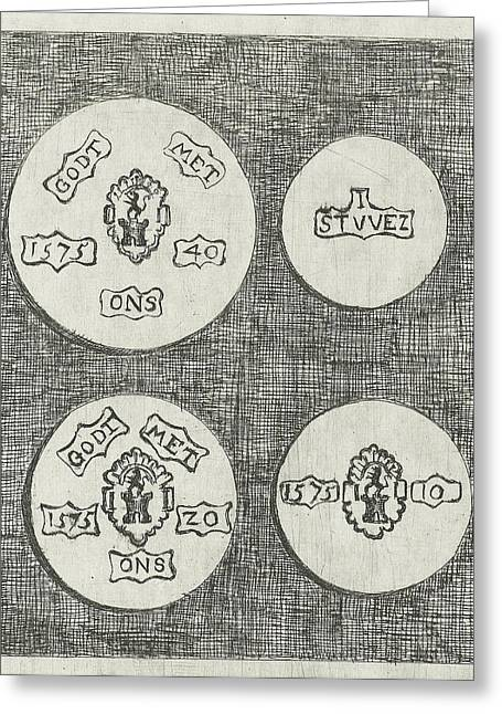 Two Emergency Coins Beaten During The Siege Of Schoonhoven Greeting Card