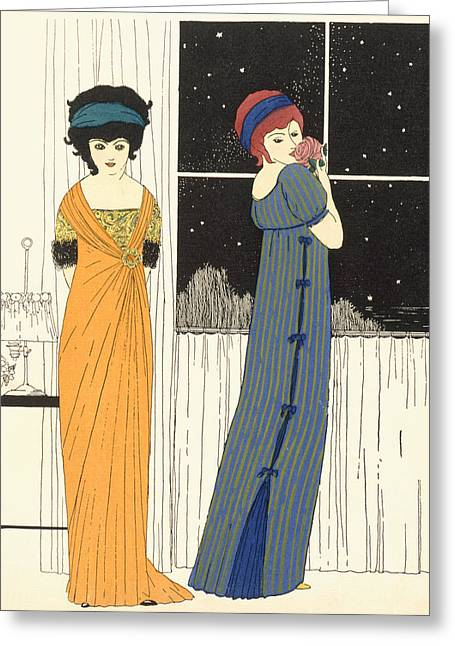 Two Empire Line Evening Dresses Greeting Card by Paul Iribe