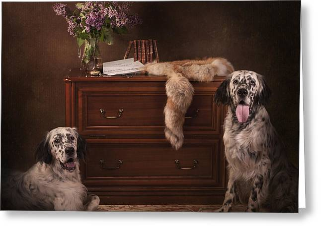 Two English Setters... Greeting Card