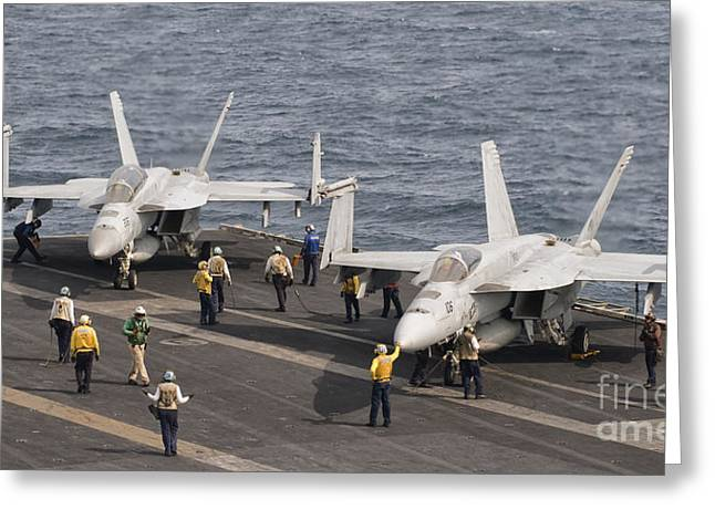 Two Fa-18 Super Hornet Aircraft Greeting Card by Giovanni Colla