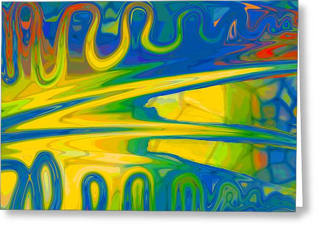 Greeting Card featuring the digital art Two Fauvist Snakes by Constance Krejci