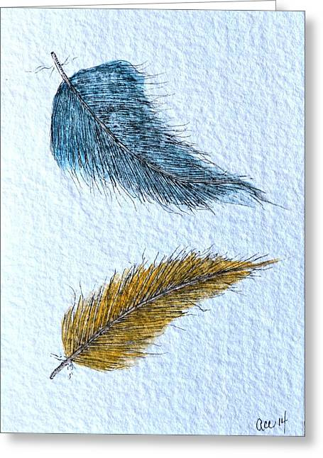 Two Feathers Greeting Card by Anne Clark