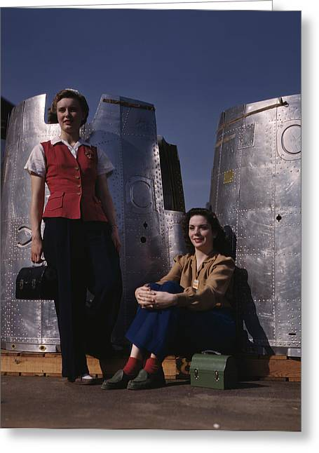 Two Female Assembly Line Workers Enjoy Greeting Card