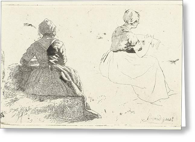 Two Figure Studies Of Peasant Woman Sitting On Hay Bale Greeting Card by Artokoloro