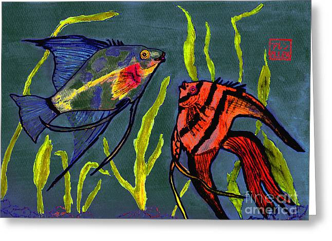 Two Fish  Chinese Watercolor Painting Greeting Card by Merton Allen