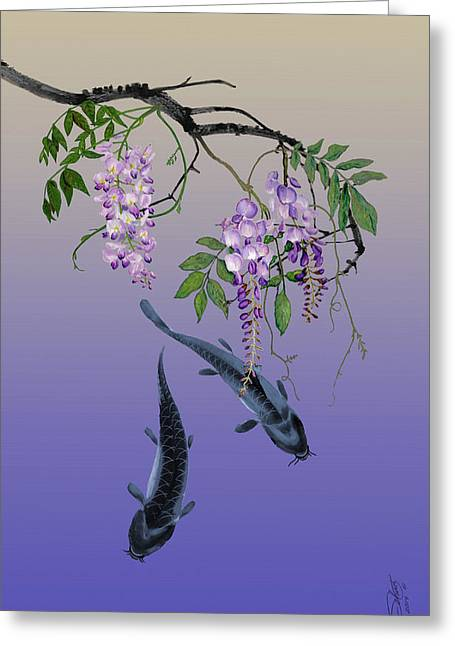 Two Fish Under A Wisteria Tree Greeting Card