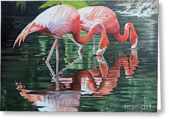 Greeting Card featuring the painting Two Flamingos by Jimmie Bartlett