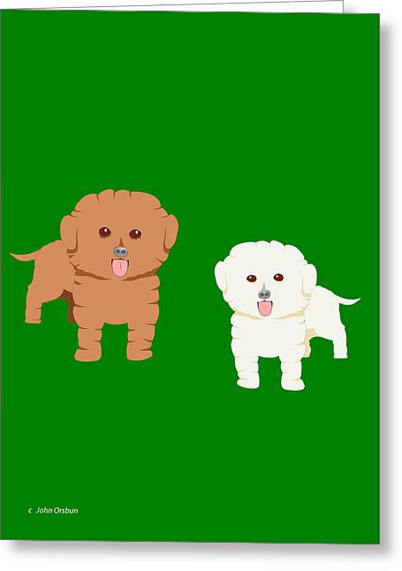 Two Fluffy Dogs Greeting Card