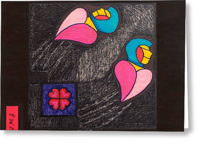 Two Fly Away Greeting Card by Blanch Paulin