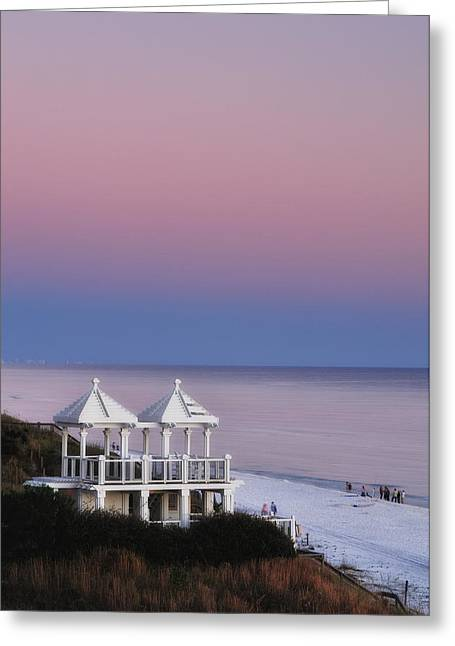 Two For Joy - Twin Gazebos At Twilight Greeting Card by Photography  By Sai