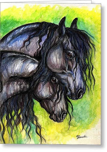 Two Fresian Horses Greeting Card by Angel  Tarantella