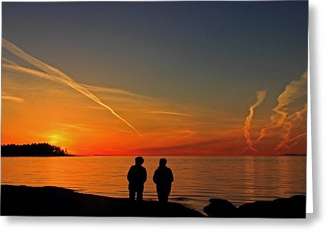Two Friends Enjoying A Sunset Greeting Card