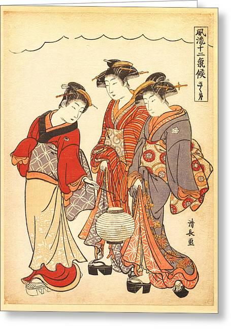 Two Geisha Preceded By A Maid Carrying A Lantern Greeting Card
