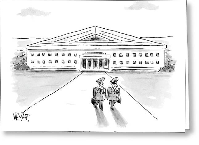 Two Generals Walking Away From The Pentagon Greeting Card