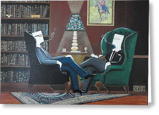 Two Gentlemen Sitting In Wingback Chairs At Private Club Greeting Card by John Lyes