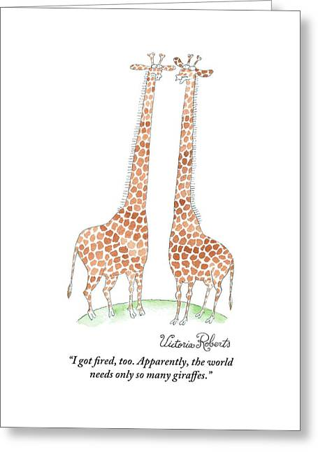 Two Giraffes Talking Greeting Card
