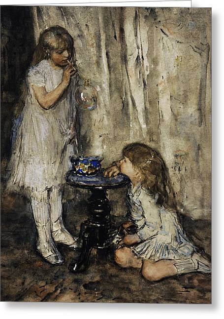 Two Girls Blowing Bubbles Greeting Card by Jacob Maris