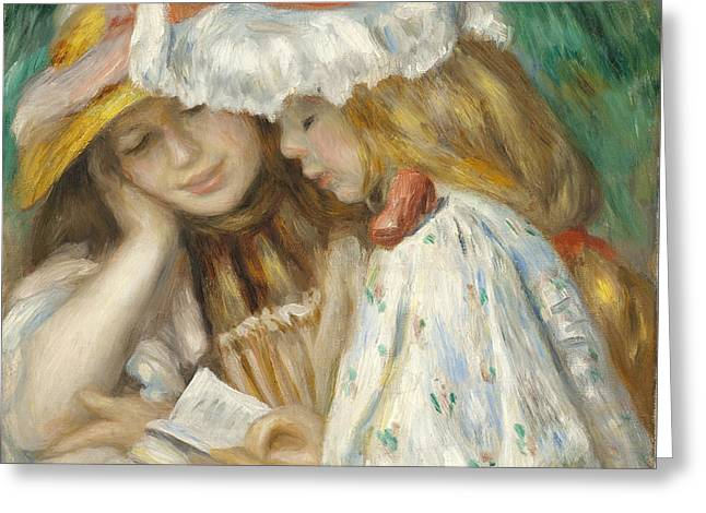 Two Girls Reading Greeting Card