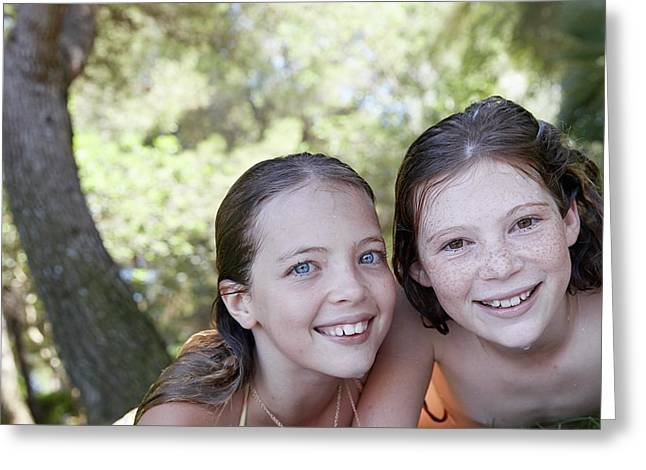 Two Girls Smiling Greeting Card by Ruth Jenkinson